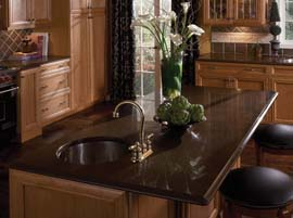 Coffee Brown Granite Countertop with Ogee Bullnose Edge Profile